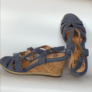 Sofft leather cork wedge espadrille sandals size 7